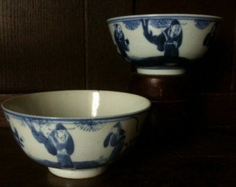 Antique Chinese Old Men Rice Noodle Bowls circa 1910's / English Shop