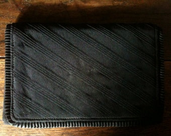 Vintage Black Clutch Bag Purse Fashion Accessory circa 1970-80's / English Shop