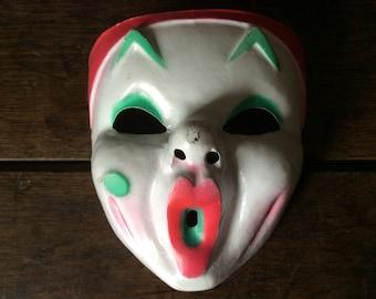 Vintage 1960s French Fancy Dress Clown Pierrot Mask / English Shop