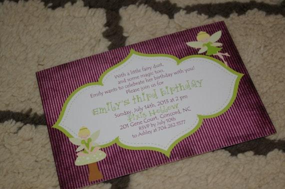 PRINTED Fairy Birthday Party Invitations, set of 25