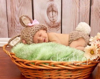 Crochet baby bunny photo prop baby prop for photography newborn prop photo prop baby shower gift bunny beanie and diaper cover, cake smash