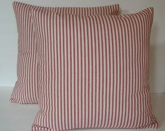 """Two (2) Decorative Red and Cream Ticking Pillow Covers Made to Fit 18"""" x 18"""" Pillows"""