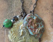 Peacock Green - Unique  One of A Kind Charm Necklace - Vintage Wire Wrapped Beads - Assemblage Necklace - Upcycled Cuckoo Clock Chain