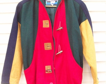 80s Oldstock Colorblock Wool Blend Hooded Coat with Toggle Buttons