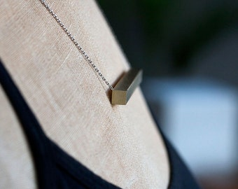 square brass bar necklace