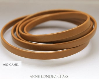 1 foot Flat recycled leather strap brown camel 6x2.5mm flat cord stringing supplies 6mm upcycled