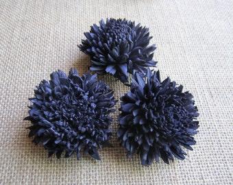 Sola zinnia Flowers  -- SET of 12 -- NAVY BLUE