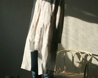 Light grey natural thin linen cardigan/dress