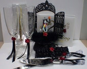 Nightmare before Christmas Wedding Cake topper Lot Disney glasses, knife, book Jack Sally Halloween