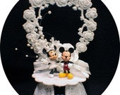 Funny Mickey Mouse and Minnie Wedding Cake Topper. Disney Top OR  glasses. knife set, guest book. pen and holder