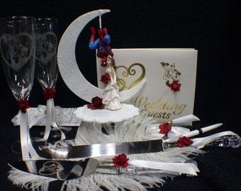 SPIDERMAN Wedding Cake topper LOT glasses knife server garter guest book funny