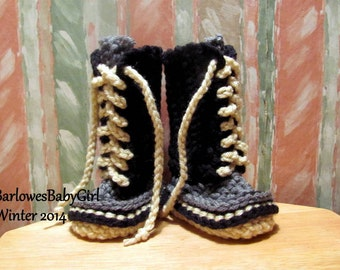 Buggs - Crochet Lace Up Baby Booties  - Color Block Trend in Black/Grey/Cream