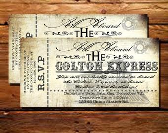 Printable Vintage Train Ticket Invitations-SALE