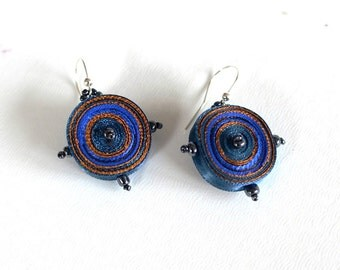 Dangle earrings blue brown, fiber earrings  round -Textile jewelry OOAK ready to ship