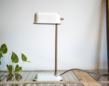 White Table lamp, Steampunk lamp, Upcycled lighting, White desk lamp, Enamel lamp, Vintage lamp, Industrial lamp, Cool lighting,On Sale lamp