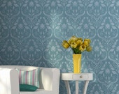 Large Flower Romantic Allover Damask Wall Stencil for Easy Stenciled DIY Decor