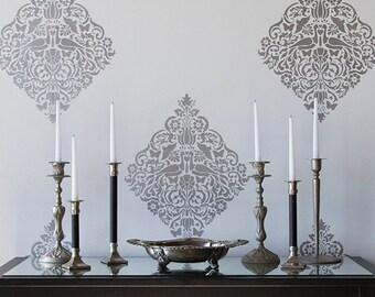 Lace Bird Damask Wall Stencil for Allover Wallpaper Look