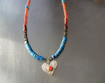 Sterling Silver Heart Necklace with Carnelian, Mixed Gemstone, Colorful, Romantic Necklace, Rustic Wedding, Autumn, Layering Jewelry
