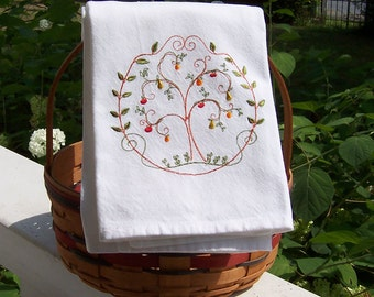 Fruit Tree Embroidered Tea Towel/Embroidered Kitchen Dish Towel/Embroidered Dish Towel/Embroidered Kitchen Towel/Embroidered Tea Towel