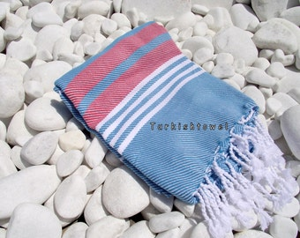 Turkishtowel-Hand woven,all cotton,3 color for weft Turkish Bath,Beach Towel-Red,White stripes on Turquoise