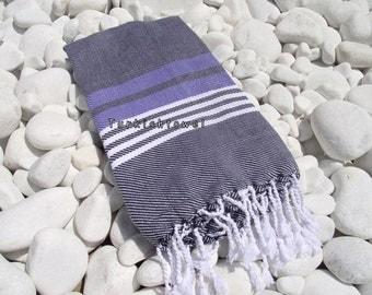 Turkishtowel-Hand woven,all cotton,3 color for weft Turkish Bath,Beach Towel-Violet,White stripes on Black