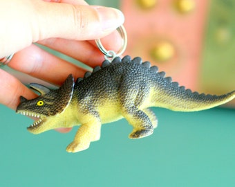 DINOSAUR Keychain...dangly. novelty. dino. retro. science. kitsch jewelry. plastic toy. purple dino. big dino. jurassic park. brachiosaurus