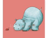 Children's Wall Art Print - Kids Decor - Whimsical and Sweet Wall Art Illustration - kids nursery - Cute Animal Series - The Hippo