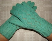 Hand knitted very warm women gloves