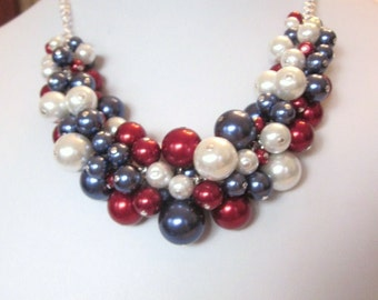 Pearl Cluster Necklace Set in Navy, Crimson Red and White - Chunky, Choker, Bib, Necklace, Wedding, Bridal, Bridesmaid, Prom, SRAJD