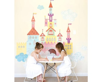 Create-a-Castle Eco-Friendly Reusable Fabric Wall Decals by Pop & Lolli