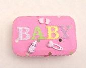 Baby Girl Altered Altoid Tin Shower Gift, Gift Card, Diaper Bag, Medicine, Diaper-Rash Creme, Photos, First Aid Kit