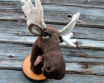 needle felted Moose head- style faux taxidermy
