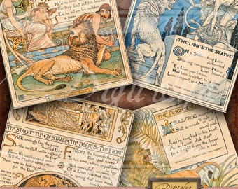 AESOP FABLES, The Lion (2) - Digital Collage Sheet - Art Nouveau Square Cards 4 inch & Squares 2 inch - Buy 3 Get 1 Free - Direct Download