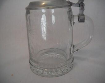 Vintage German Glass Beer Stein Alwe Etched Glass