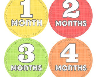 Baby Month Milestone Stickers FREE Baby Month Sticker Baby Monthly Stickers Baby Boy Bodysuit Sticker Baby Gift Red Green Yellow Orange 019B