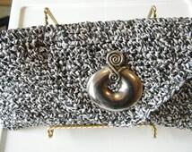 Handbag, purse, clutch, evening bag, Handmade Crochet Clutch made from Raffia Yarn.  Black White, ready to ship now.