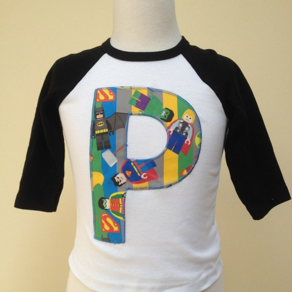 custom lego superhero number or initial t shirt