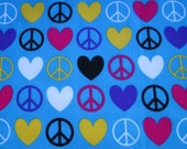 Peace Sign and Heart Fabric by the Yard
