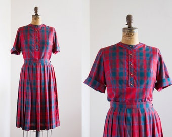 1950s Dress - 50s Top And Skirt - Red Plaid Top And Skirt Set