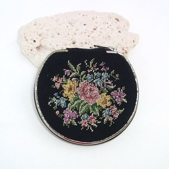 Vintage Loose Powder Compact Floral Needlepoint Petit Point Compact Purse MIrror Black Yellow Pink