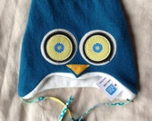 "Hoo Hat -Upcycled Felted Wool Owl Hat -Ocean Blue Merino -Size Medium (18.5-20.75"" head)"