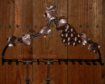 Wine Glass Rack With Copper Accents on Repurposed Rake