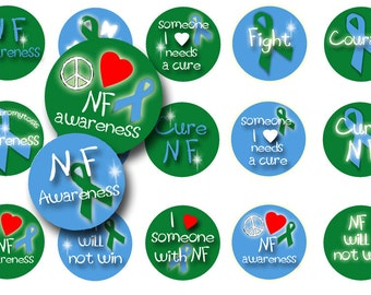 Neurofibromatosis bottle cap images - 1 inch circles -  Badge reels -  Magnets - Key chains - Fund raisers