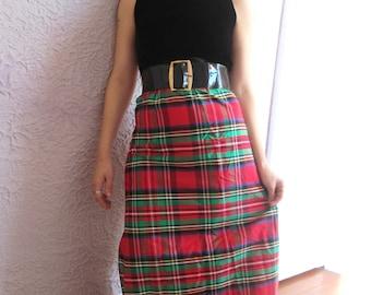 60's Vintage Velvet and Plaid Taffeta Party Dress mod small