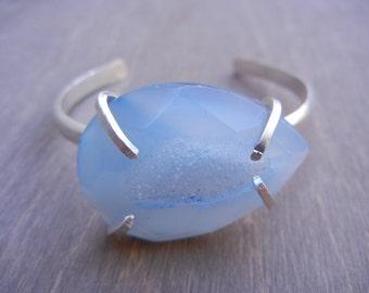 Blue Aquamarine Druzy Cuff Bracelet Druzy Geode Sterling Silver Cuff Bracelet Hammered Silver Cuff, Light Blue Geode Stone
