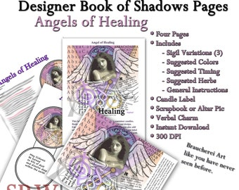 Healing Angel - BOS Pages - Four  Pages - Digital Collage Instant Download Includes Sigils, Candle Label, Instructions