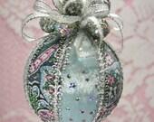 Handmade Blue/Pink/Silver Shabby Christmas Ornament