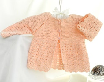 Crochet baby sweater, peach baby sweater, summer baby sweater, open-work sweater, summer clothes , Discount, Ready to Ship