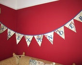 Personalized Map Bunting Personalised Name Banner Beige World Map Fabric Please select amount of flags required