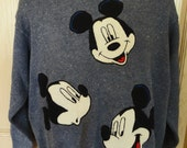 Adult Disney Sweater Mickey Unlimited Brand Cotton Vintage 1988 Light Blue/White Knit